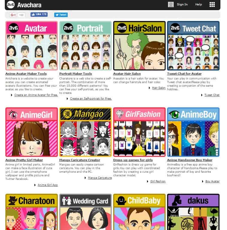 Avachara Anime Avatar Creator Web App Categories