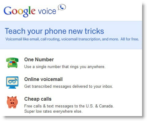 Google Voice home page screenshot