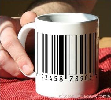 bar coded coffee mug