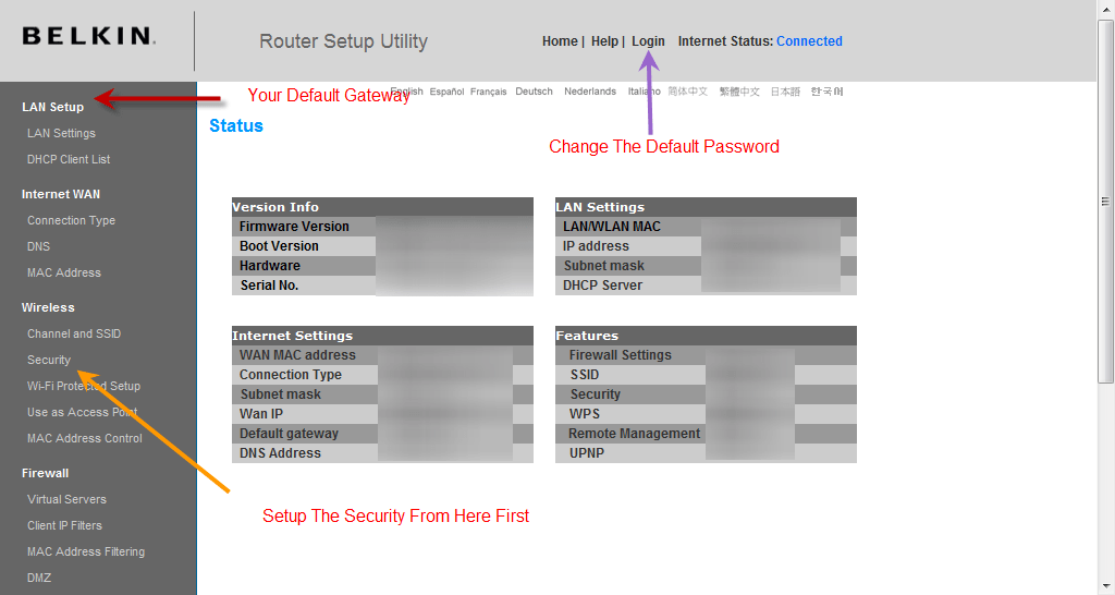 Router Configuration Page