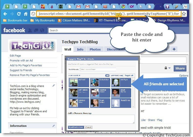 facebook select all friends fan page demo