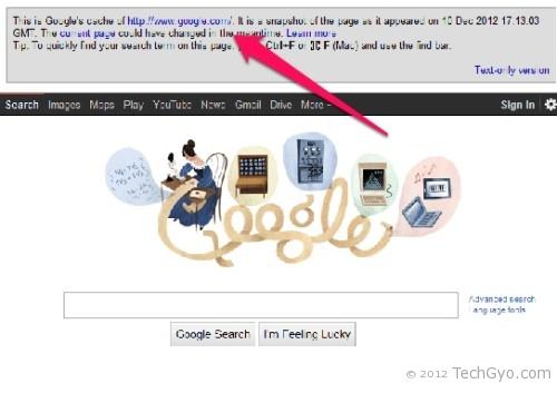 Google cache for google.com