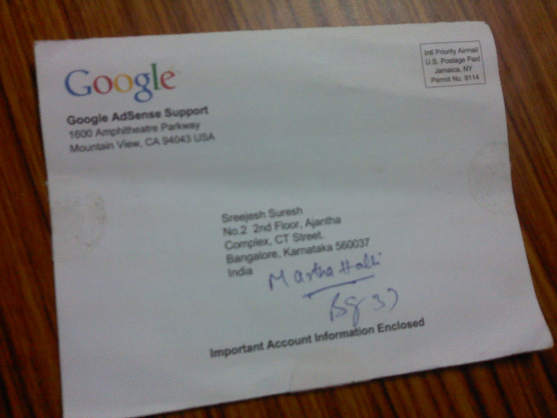 sreejesh adsense verification post mail
