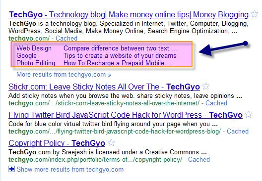 techgyo.com gets google sitelinks