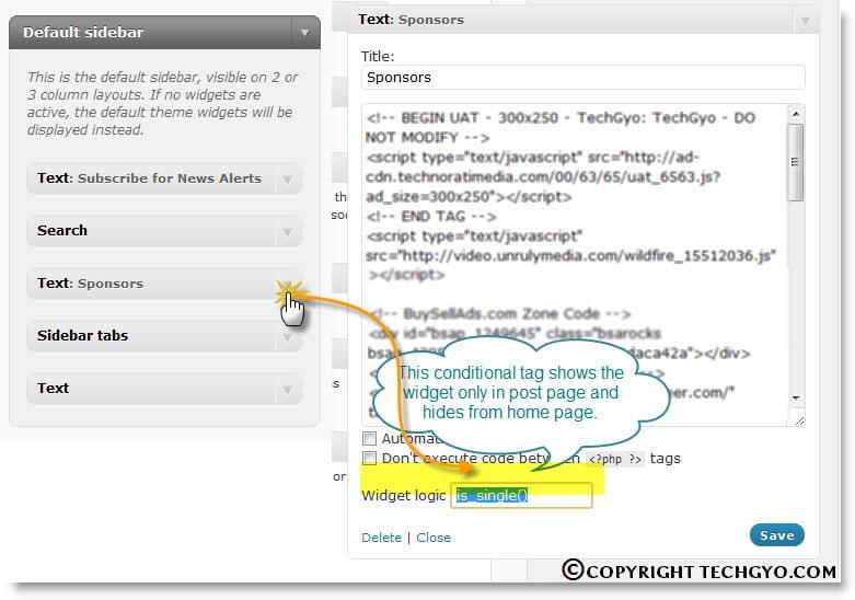 widget logic wordpress conditional tag.