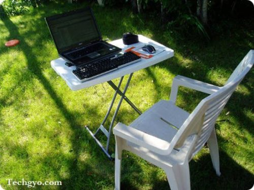 enjoy blogging in the backyard