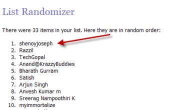 hostgator hosting account winner chosen via random.org