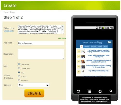 AppsGeyser – Create Android App From Web Content 3