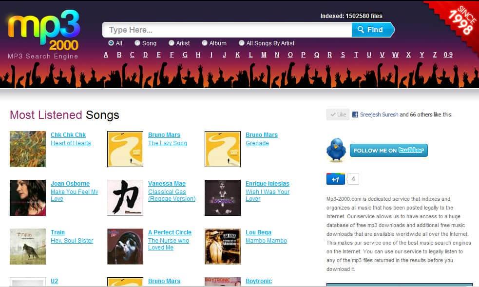 mp3-2000.com home page screenshot
