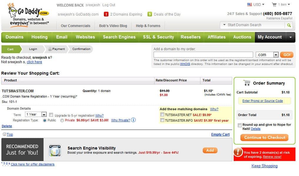 tutsmaster.com domain registeration