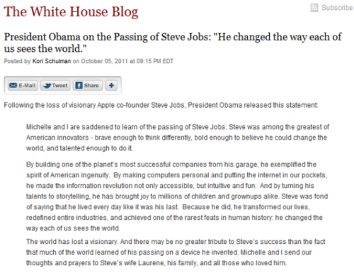 President Obama on the Passing of Steve Jobs   The White House