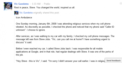Vic Gundotra   on Steve jobs death