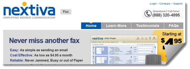 Nextiva Fax website screenshot