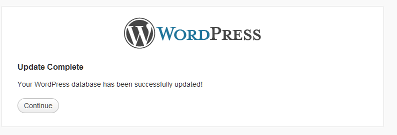 wordpress 3.4 database update completed