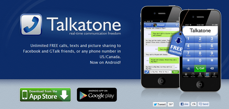 Talkatone- Website Screenshot