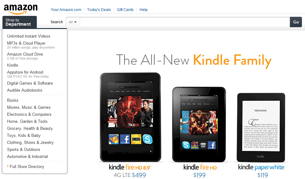 Amazon-Website Screenshot
