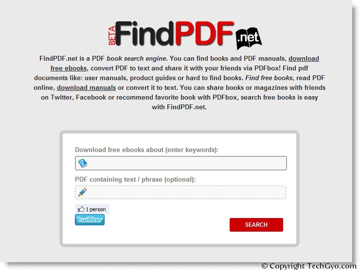 findpdf.net home page screenshot