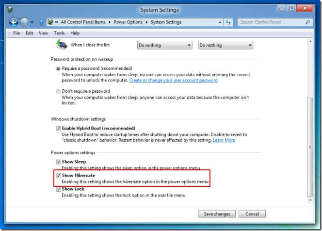How to enable Hibernation mode in Windows 8 5