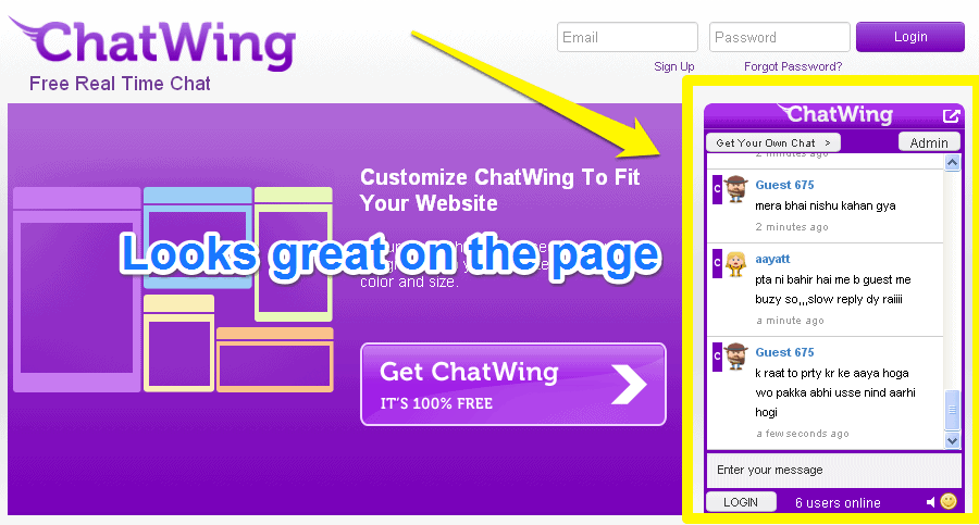ChatWing chatbox on page
