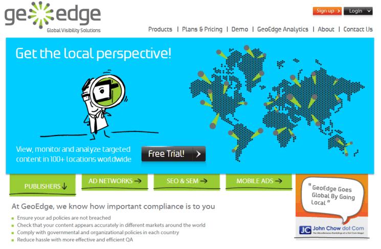 GeoEdge Website Screenshot