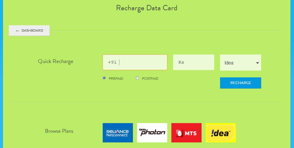 Mobikwik -Data Card Recharge