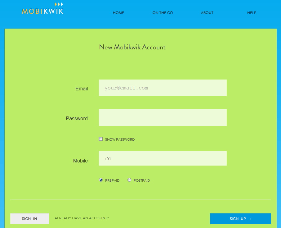 Mobikwik -Sign Up