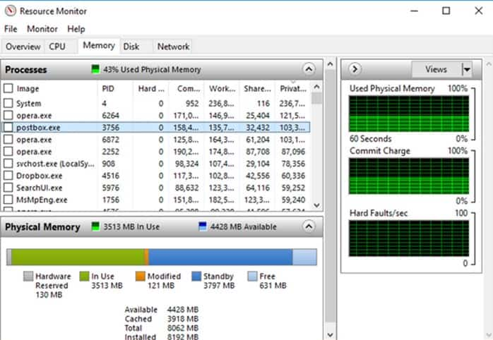 Resource Monitor Memory Diagnostic