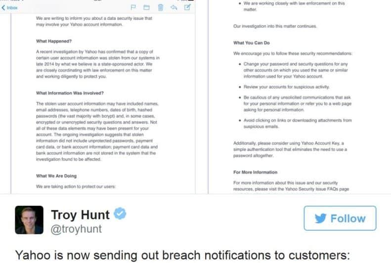 Yahoo Data Breach Email.