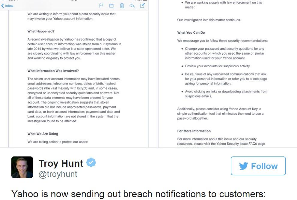 Yahoo Data Breach Email - Part 2