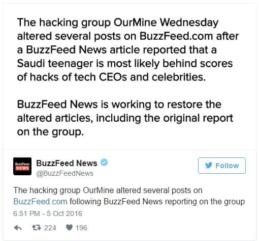 Buzzfeed Twitter response to the Hack