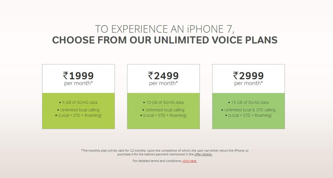 iPhone 7 from Rs. 19,990 onwards; offer by Airtel _ Annual Airtel Voice Plans