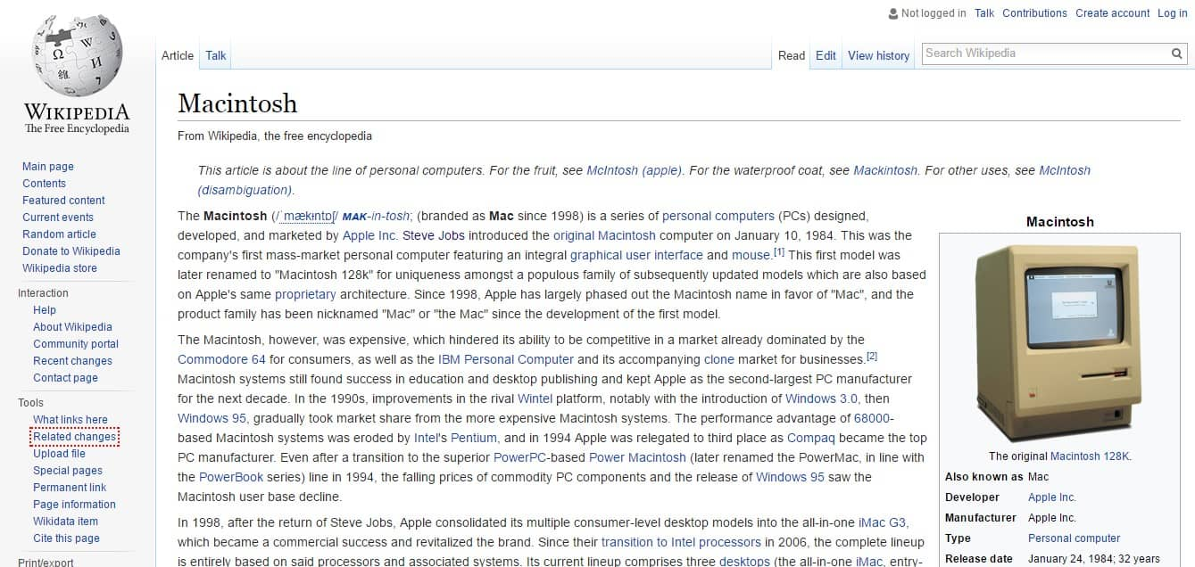 Apple Macintosh Search Page by Wikipedia