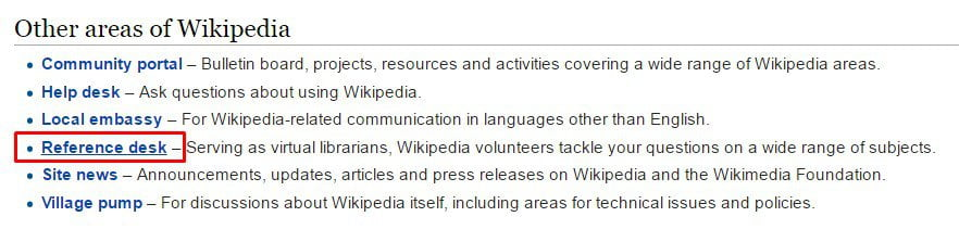 Other areas of Wikipedia > Reference Section
