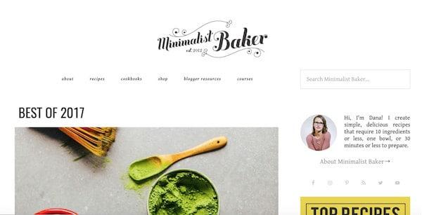 minimalistic baker wordpress site