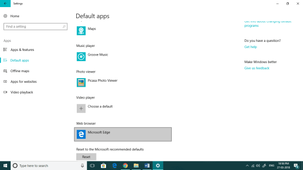 Default Apps Section.