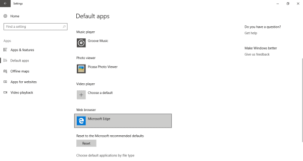 Go the default apps center