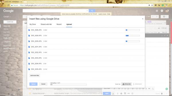 Uploading files on google drive