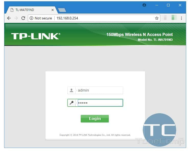 Login page for router