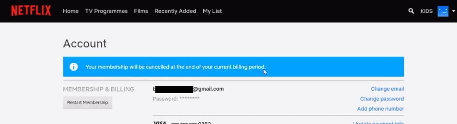 cancelling netflix subscription