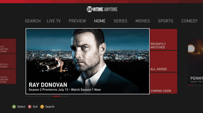 Showtime Anytime Homescreen