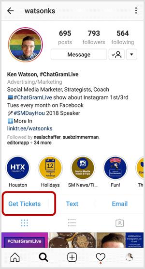 instagram action button