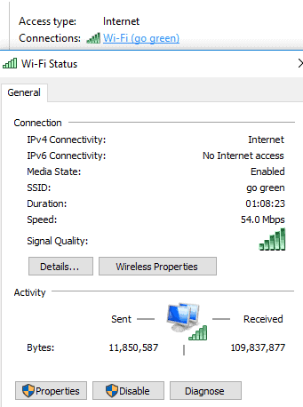 General details of wifi connection.