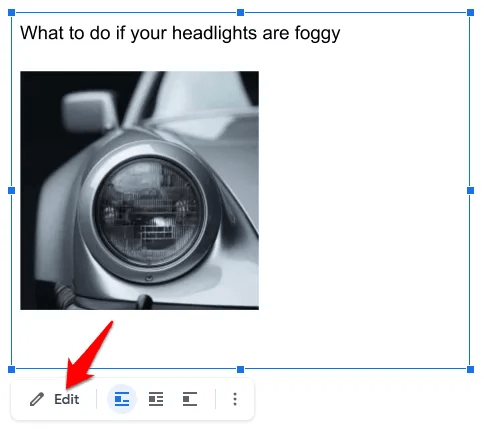 A textbox with a picture of a cars headlight.