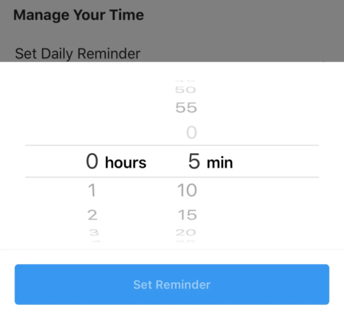 Daily usage reminders you can set on Instagram.