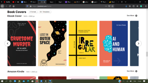 Example of book covers on pixelied