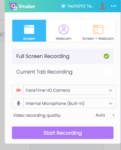 records screens, webcam, or both at the same time.