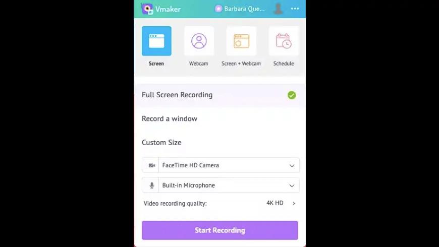 Vmaker start screen