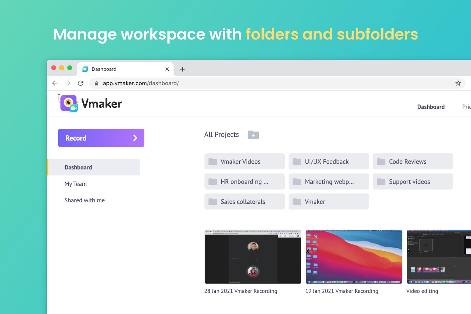 Vmaker manage workspace