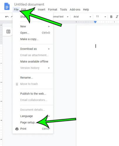Green arrow pointing file menu and page setup