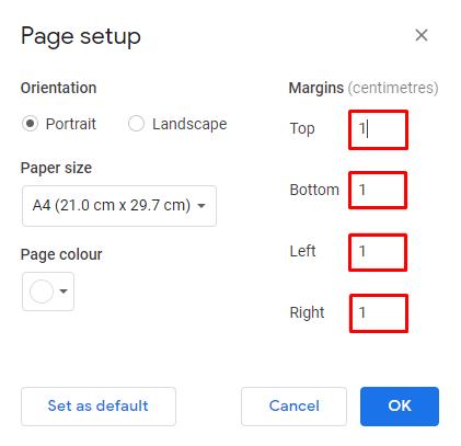 page setup window